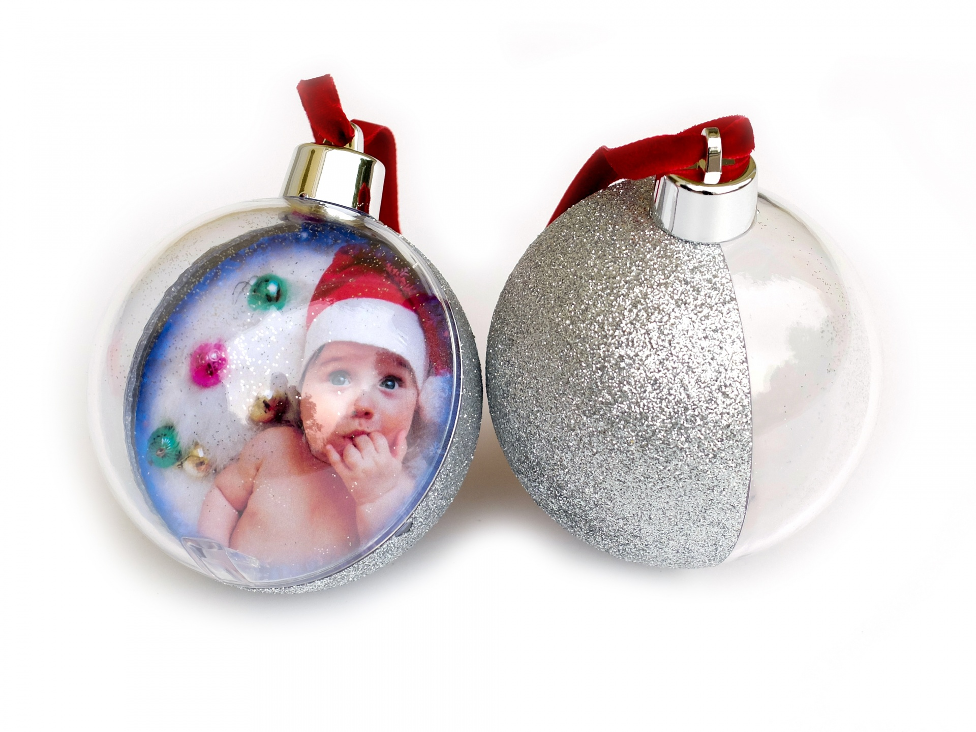 прозрачные новогодние шары с фото внутри она